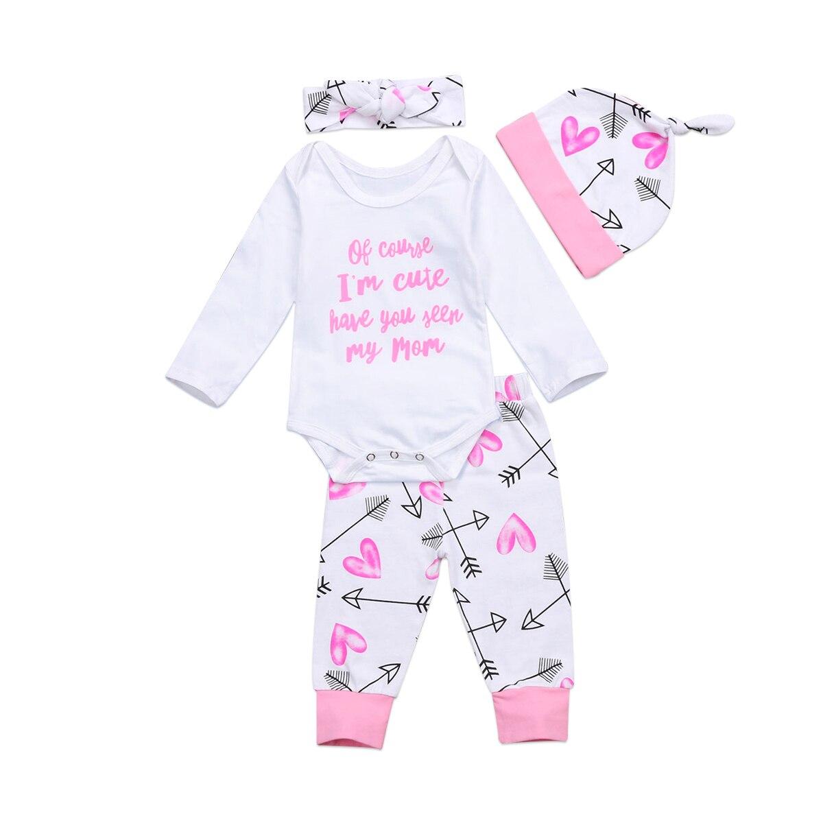 Newborn Infant Baby Kids Girls Clothes Romper Jumpsuit Bodysuit+Pants Outfit Set