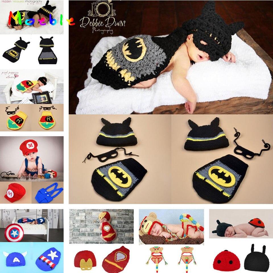 Dernières Batman Conception Bébé Crochet Photographie Props Infantile  Nouveau-Né À La Main Chapeaux Costume 48b30d04d66
