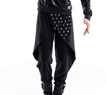 New arrived 2016 nightclub bar stage wear dj rock men's pants male fashion hip-hop personality rivet dovetail harem trousers
