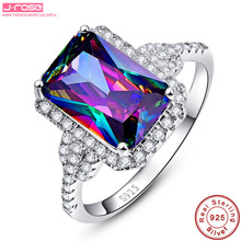 Jrose 6.85ct Emerald Rainbow Fire Mystic Topaz Ring Genuine 925 Sterling Silver Ring For Women 2016 Fashion Jewelry