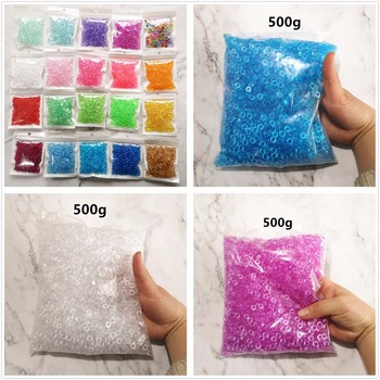 500g 21colors Clear Rice Fishbowl Flat Beads Transparent Slime Accessories Toy DIY Handmade Slime Crystal Mud Particles Filler meideheng acrylic circle beads transparent electroplating slime crystal mud filler ornament accessories for hair ring needlework