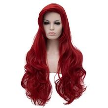 Jessica Rabbit Wavy Long Wine Red Hair Little Mermaid Princess Ariel Heat Resistant Cosplay Costume Wig + Wig Cap