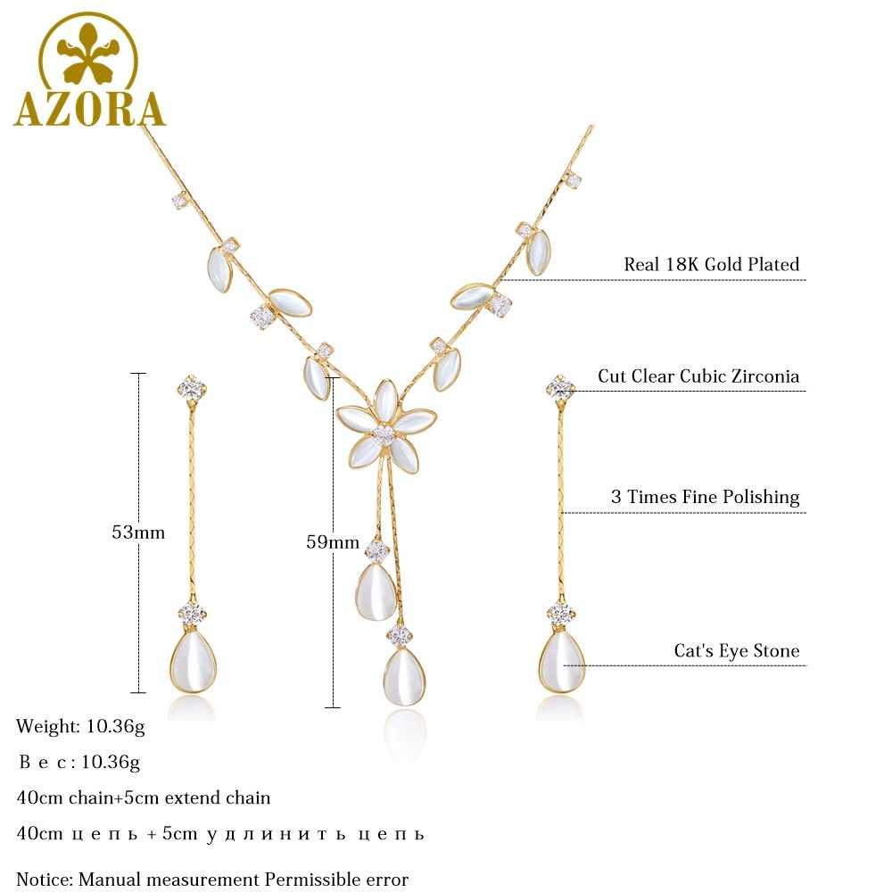 AZORA ensemble de bijoux en pierre pour les yeux de chat avec motif de feuilles avec zircon cubique clair ensemble de boucles d'oreilles pour collier de fête TG0256