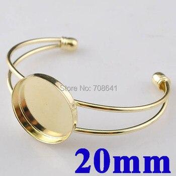 20mm Golden tone Blank Bangle base Circle Deep Bezel Tray Cabochons Bracelet Cuff Bangle Settings Findings Cameo DIY Wholesale