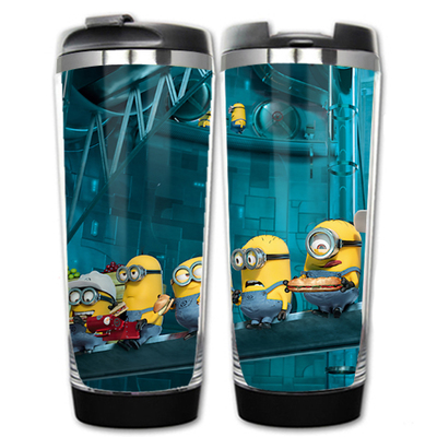 HOT SALE Despicable me Models Minions 2 Double Insulation Plastic Stainless Steel Mug Coffee Cup