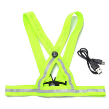 2017 New arrival sturdy high quality fluorescent inexperienced USB charging LED straps reflective vest security clothes