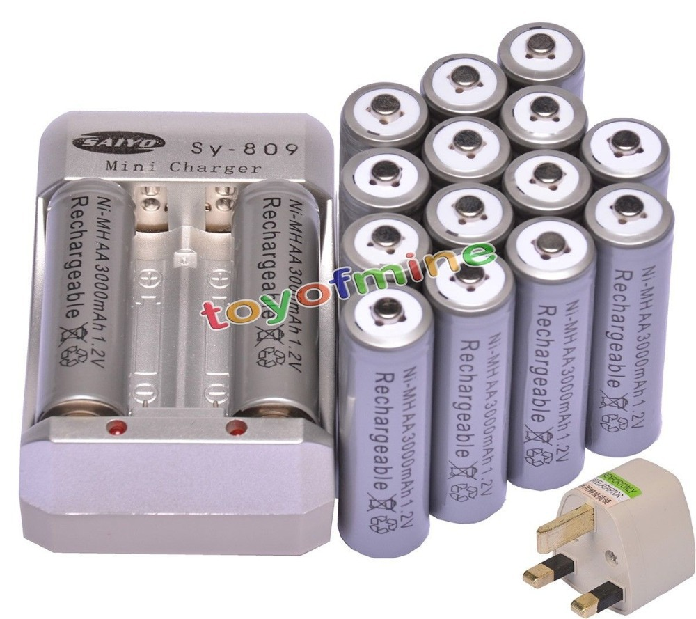 16x AA 3000mAh 1.2V Ni-MH Rechargeable Battery Grey for RC Toys Camera + Charger Plug
