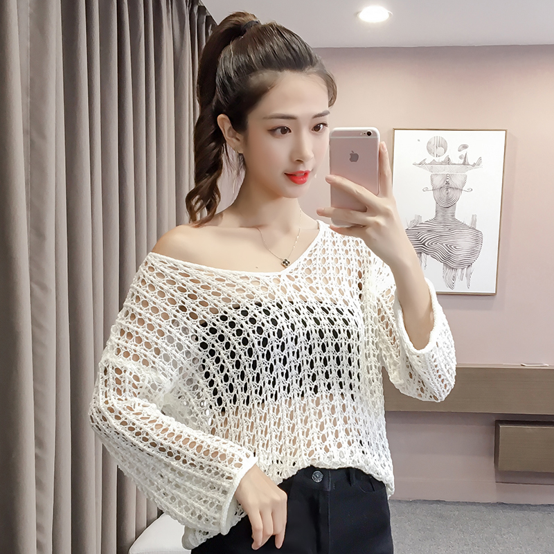 5c48ce675b16 Sexy White Tops Female O Neck Pullovers Fashion See Through Sweaters For  Womens Korean Knitwear Hollow Out Loose Sweaters