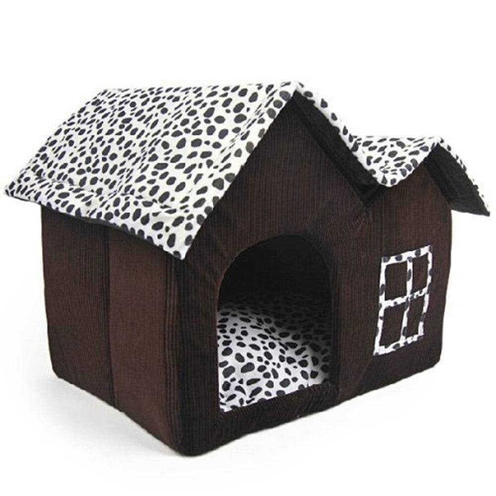 TFBC-Luxus High-End Doppel Pet Haus Braun Hund Zimmer 55x40x42 cm