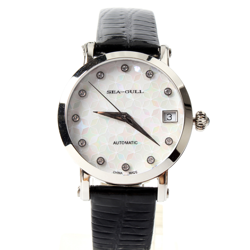 Seagull Rhinestones Bezel Mother of Pearl Dial Onion Crown Exhibition Back font b Women b font