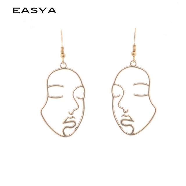 EASYA Picasso Face Earrings For Women Golden Casual Figure Earring Pendientes Je