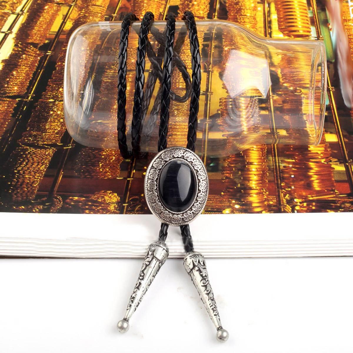 Homens Gravata de bolinhas, ocidental Rodeo Cowboy Pescoço Laços Lariat Colar Chocker Do Vintage Pedra Natural Bola Laço De Couro do PLUTÔNIO dos homens Amantes de Presente