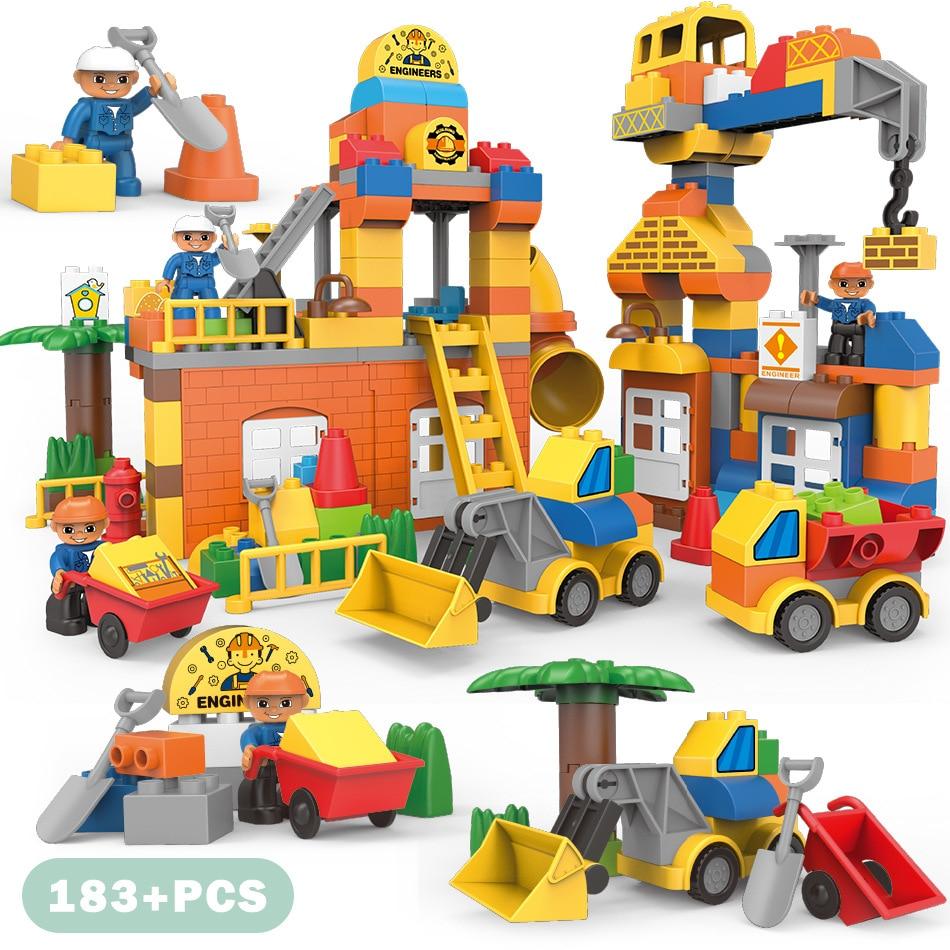Série cidade Tamanho Grande Engenharia Bombeiros Bombeiros Figuras Building Blocks Define Compatível Duploe Tijolos Crianças Brinquedos