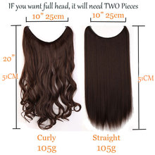 Synthetic Hair Fish Line Wavy Hair Extensions Brown Blonde