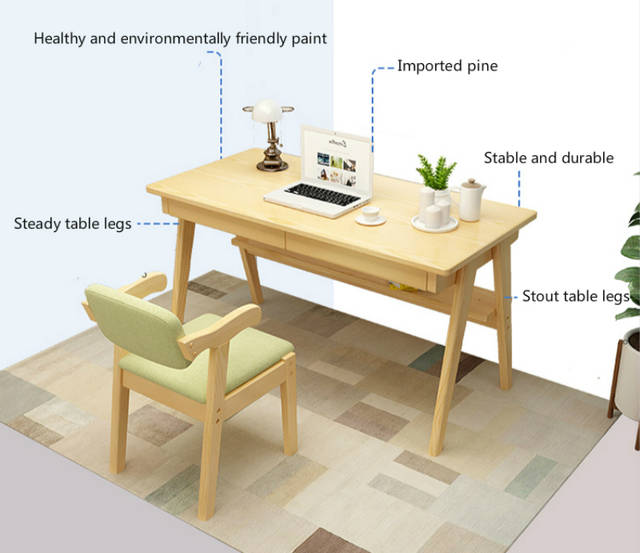 US $316.64 21% OFF|Simple Style Household Computer Table Student Study Desk  Multifunction Table and Chair Set Wooden Stable Office Desk with Drawer-in  ...