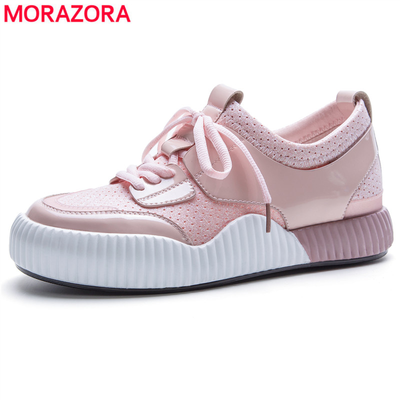 MORAZORA SIZE 35-42 New women sneakers platform flats genuine leather shoes spring summer round toe ladies casual shoes black asumer white spring autumn women shoes round toe ladies genuine leather flats shoes casual sneakers single shoes