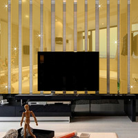 5pcs Set 3D Acrylic Mirror Wall Stickers Living Room TV Backdrop Stickers Affixed Decorative Mirror Rectangular
