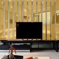 10 stks/set 3D Acryl Spiegel Muurstickers Woonkamer TV Achtergrond Stickers Aangebracht Decoratieve Spiegel Rechthoekige Strip Plint