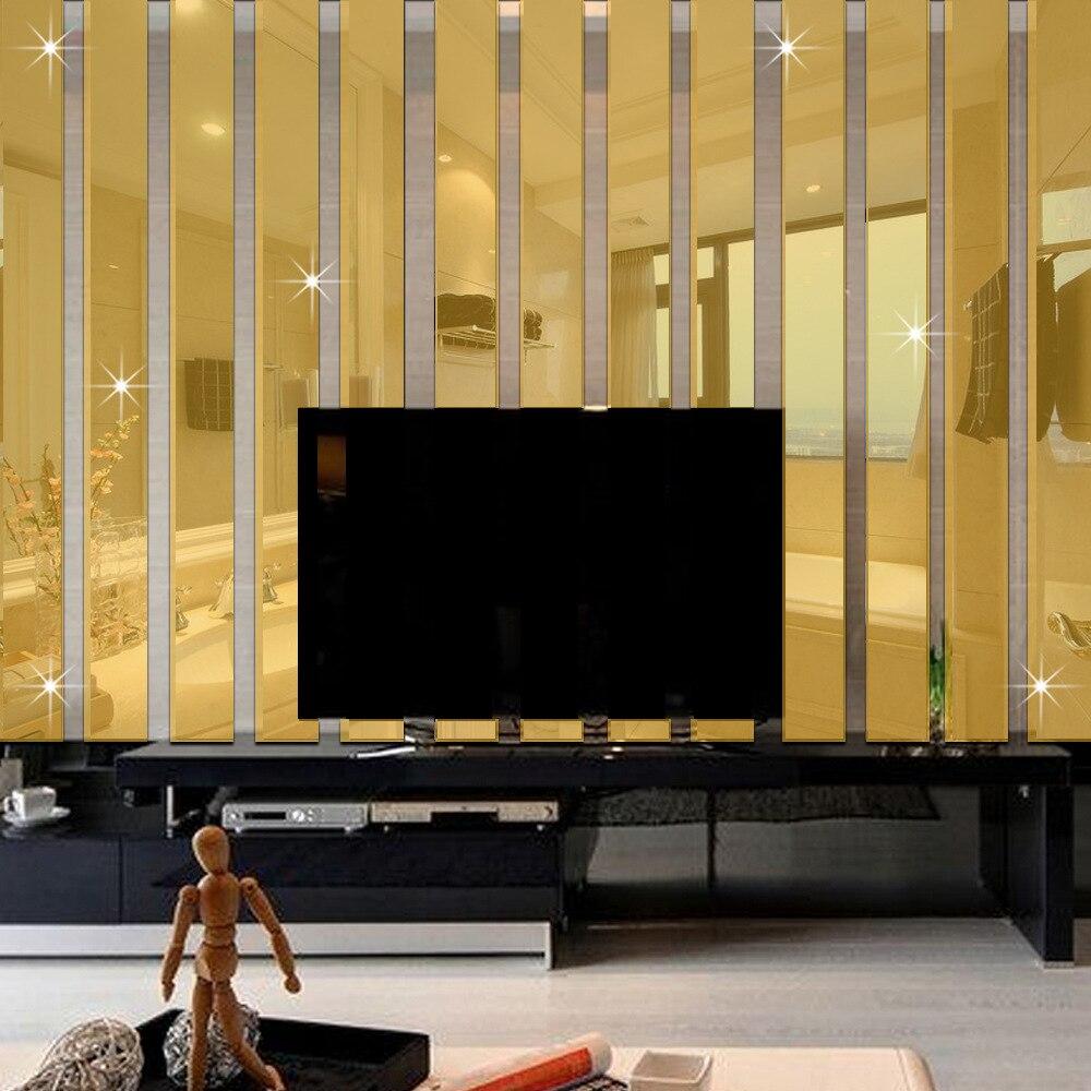 10pcs/set 3D Acrylic Mirror Wall Stickers Living Room TV ...