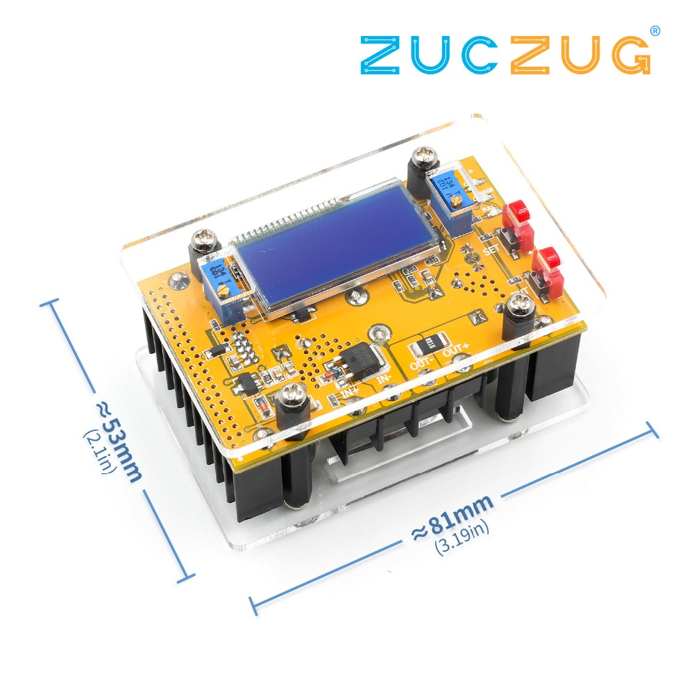 10A DC-DC Adjustable LCD Dual Display CC CV Step-down Power Supply Module Short Circuit Protection + Case DC-DC Boost Converter