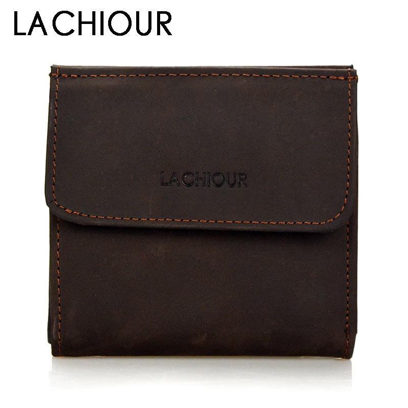 Vintage Men Slim Genuine Leather Wallet Short Crazy Horse Leather Wallet Coin Bag Purse Male Bifold Card Holder Wallets
