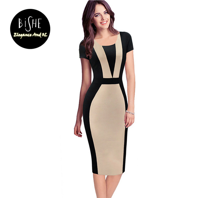 3fb574f33 BiSHE Women Vintage Summer Round Neck Business Working Cocktail Party  Bodycon Dress Patchwork Fitted Sheath Pencil Dress