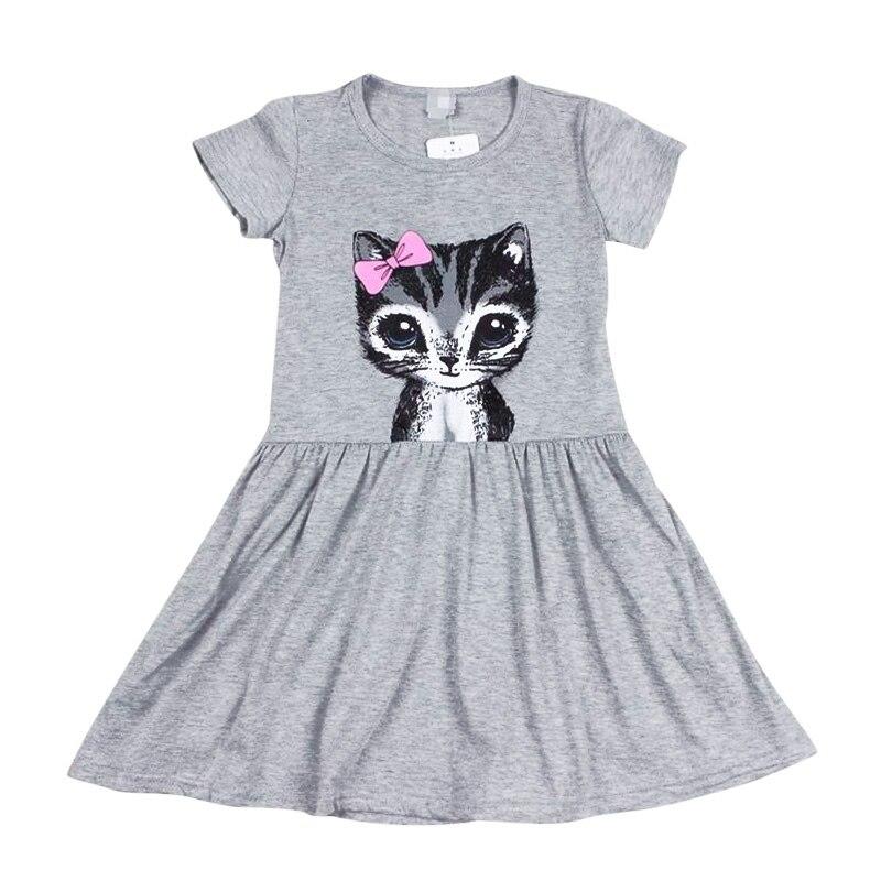 Toddler Girls Shirt Dress Summer Kids Cat Print Princess Party Skater Sundress