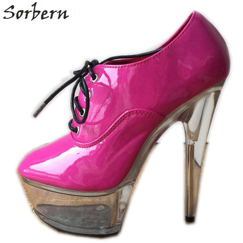 Sorbern rose vif femmes pompes Spike talons hauts à lacets Transparent plate-forme talons chaussures Punk chaussures à talons clair Ciber lundi