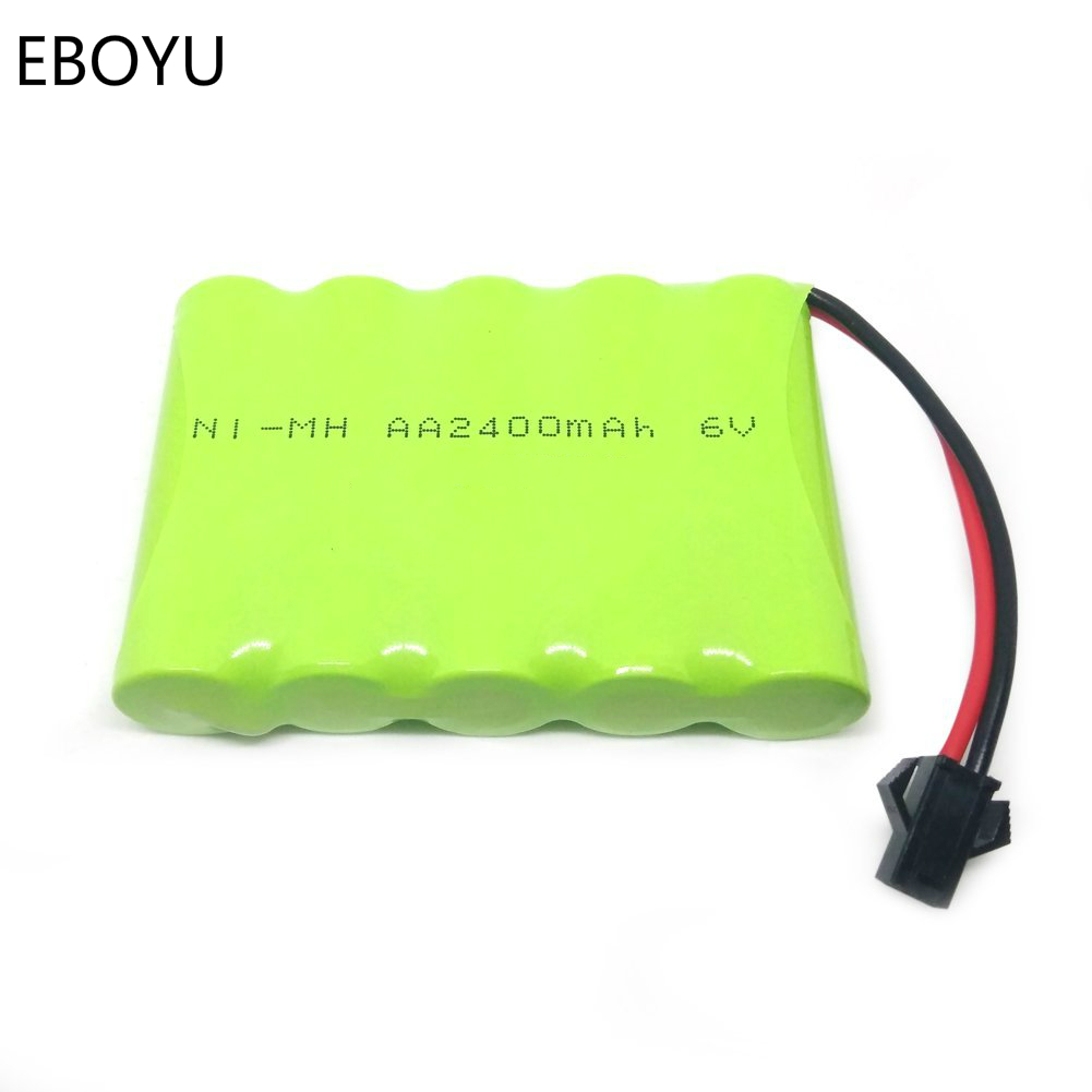 EBOYU 6V 2400mAh Ni-MH Rechargeable AA Battery Pack with SM 2P Plug for RC Car and Other Similar Remote Control Toys 100% original blon s1 3 5mm in ear earphone ba with dd bosshifi s1 balanced armature in ear earphone diy custom sport earphone