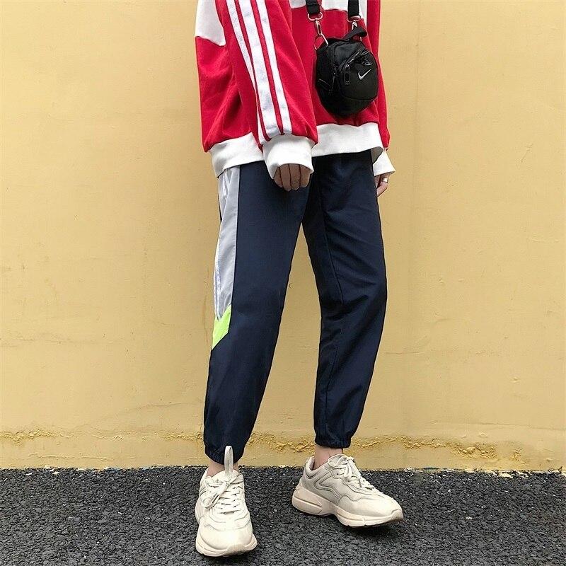 2018 Herbst Neue Herrenmode Flut Korea Stil Gestreiften Gespleißt Gebunden Füße Hosen Elastische Taille Lose Beiläufige Motion Hosen S-xl üBerlegene Materialien