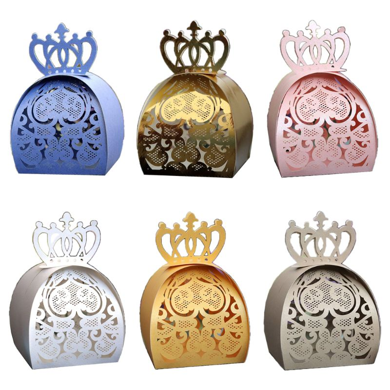 25pcs/pack Love Heart Crown Laser Cut Hollow Favors Gifts Chocolate Candy Boxes Baby Shower Wedding Party Supplies