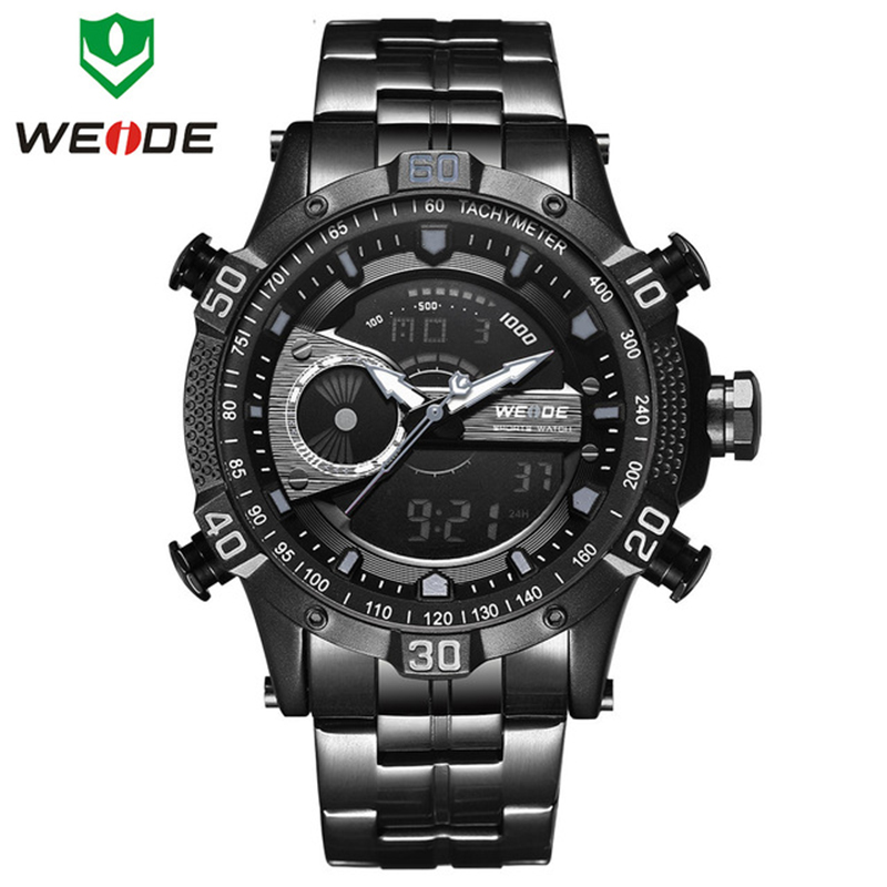 Men Sports Watches Mens WEIDE Stainless Steel Men Watch Analog LED Digital Business Steel Quartz Wristwatch Relogio MasculinoMen Sports Watches Mens WEIDE Stainless Steel Men Watch Analog LED Digital Business Steel Quartz Wristwatch Relogio Masculino