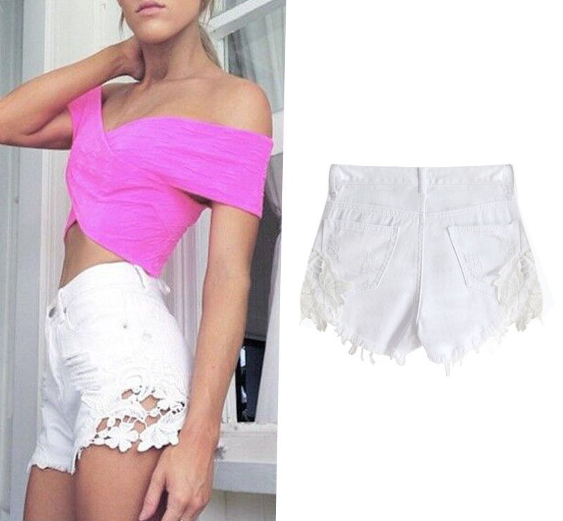 Compare Prices on Lace Ripped High Waisted Shorts- Online Shopping ...