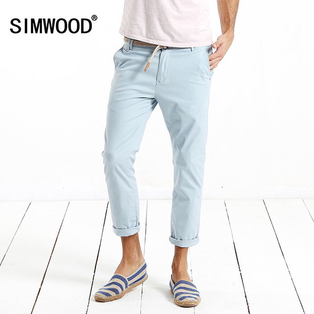 2016 New Arrival Simwood Brand Men Clothing Casual Pants Slim Fit Zipper Fly Ankle-length Pants Free Shipping KX5504