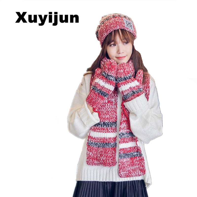 XUYIJUN skullies beanies and winter gloves sets of cotton fashion women's hat scarf hat and scarf set solid for women's knitwear skullies