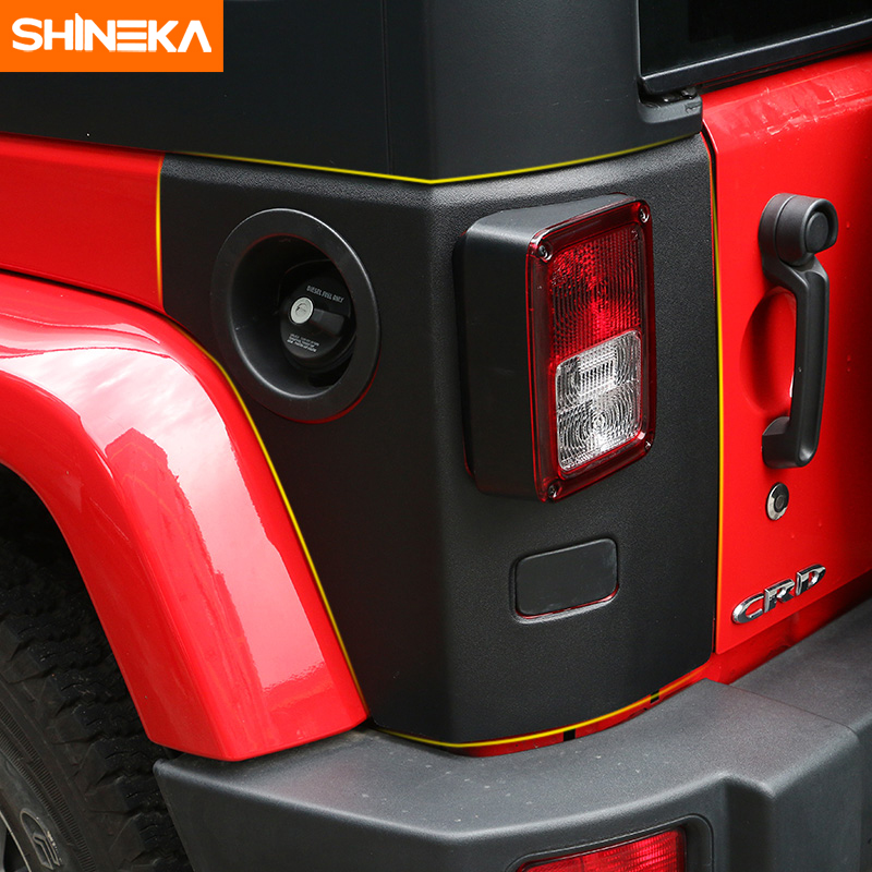 SHINEKA Fit For 2007-2016 Jeep Wrangler Rear Taillight Tail light Lamp Guard ABS Cover Trim Protector Car accessory