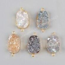 Borosa ゴールド色の天然水晶石英チタンミックスカラー druzy の geode コネクタダブル用ブレスレット宝石ジュエリー G1036