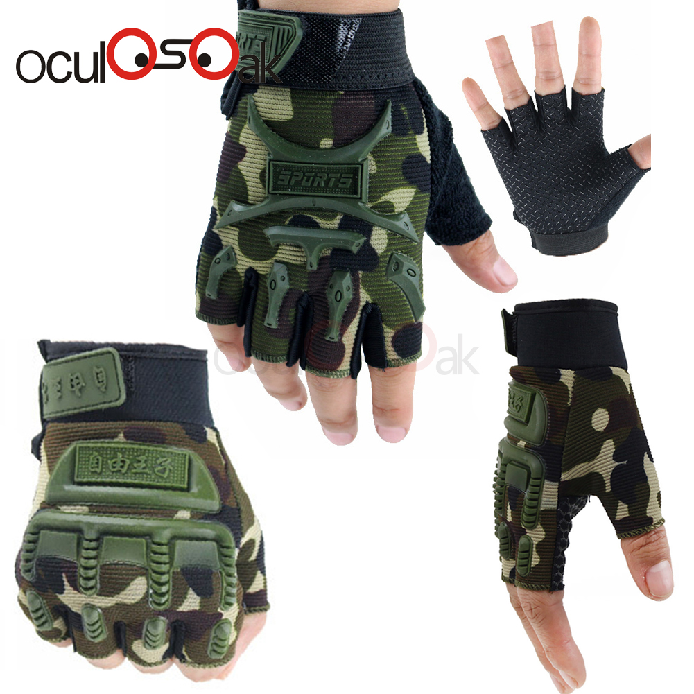 2019 Hot 5-13 Years Old Kids Autumn Winter Tactical Gloves Children Half Fingers Mittens Boys Girls Anti-slip Camo Sport Guantes