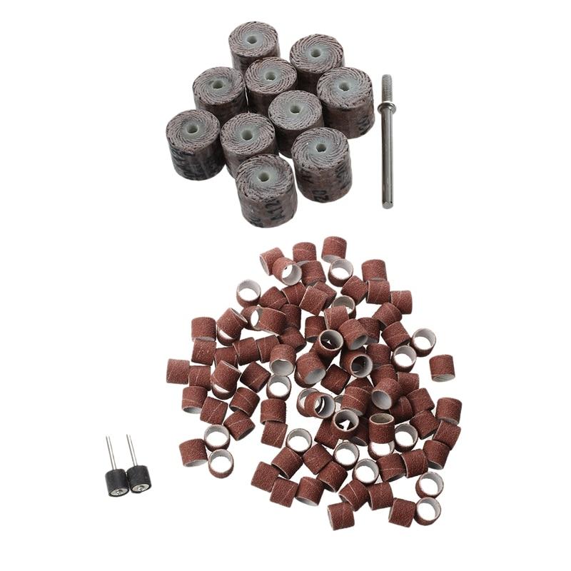 Temperamentvoll 12x14x3mm 120-grit Pinsel Schleifen Werkzeug Klappe Rad (10 Stück) & 100 Pc 1/2 Zoll Schleifen Bands Kit Mit 2 Schleifen Trommel Mandr Diversifizierte Neueste Designs
