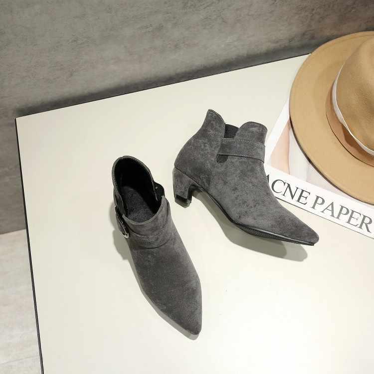 Большие размеры 9, 10, 11-15; ботинки; женская обувь; ботильоны для женщин; женские ботинки с острым котиком и бархатистой пряжкой на ремешке