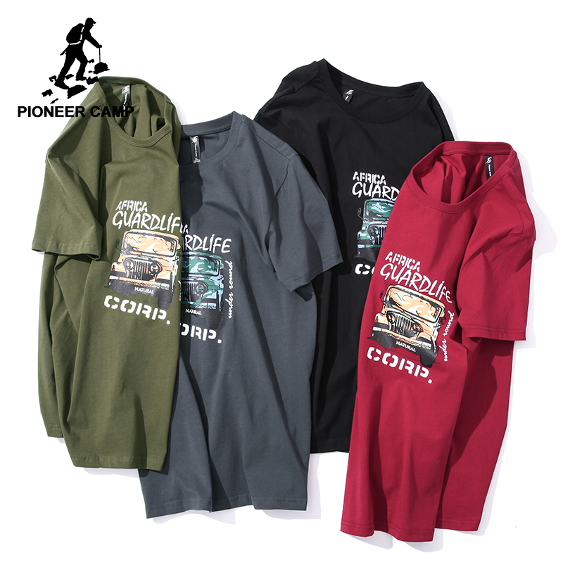 Pioneer camp new short sleeve   t     shirt   men brand clothing casual print mens   t  -  shirt   quality soft pure cotton tees male ADT806049
