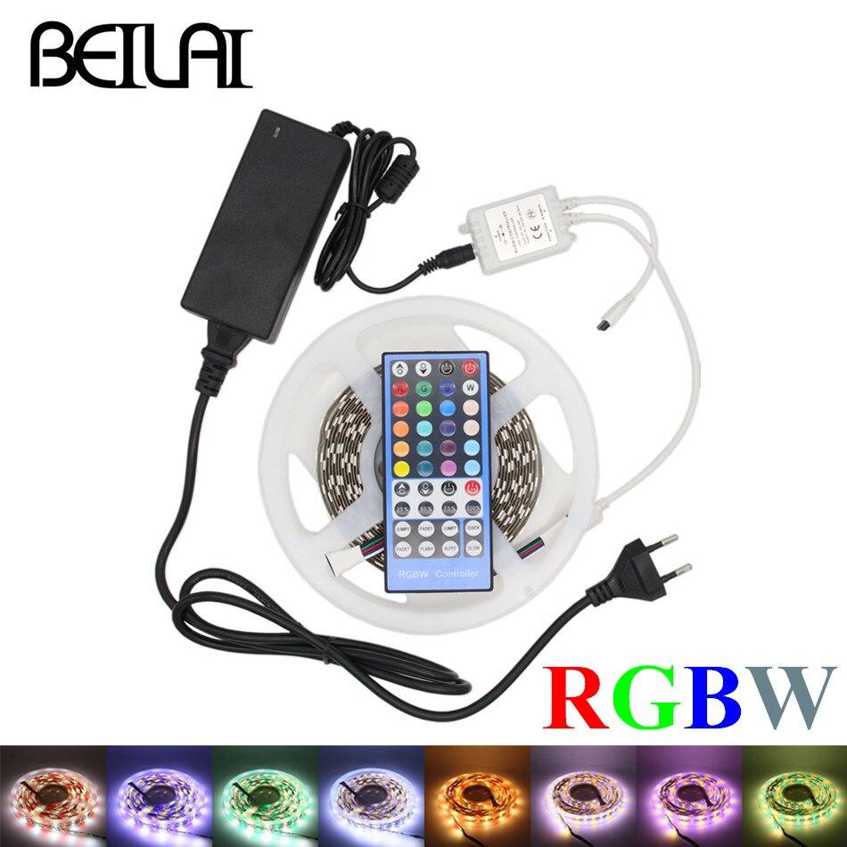 Double rangée 5050 RGBWW RGBW LED bande 5 M 600 LED non étanche DC 12 V lumière LED bandes Flexibie Neon avec 5A puissance et à distance