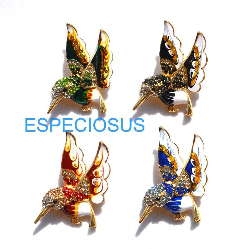 Women Brooch Jewelry Breast-Pin-Accessories Humming Bird Elegant-Pin Rhinestone Gold-Color