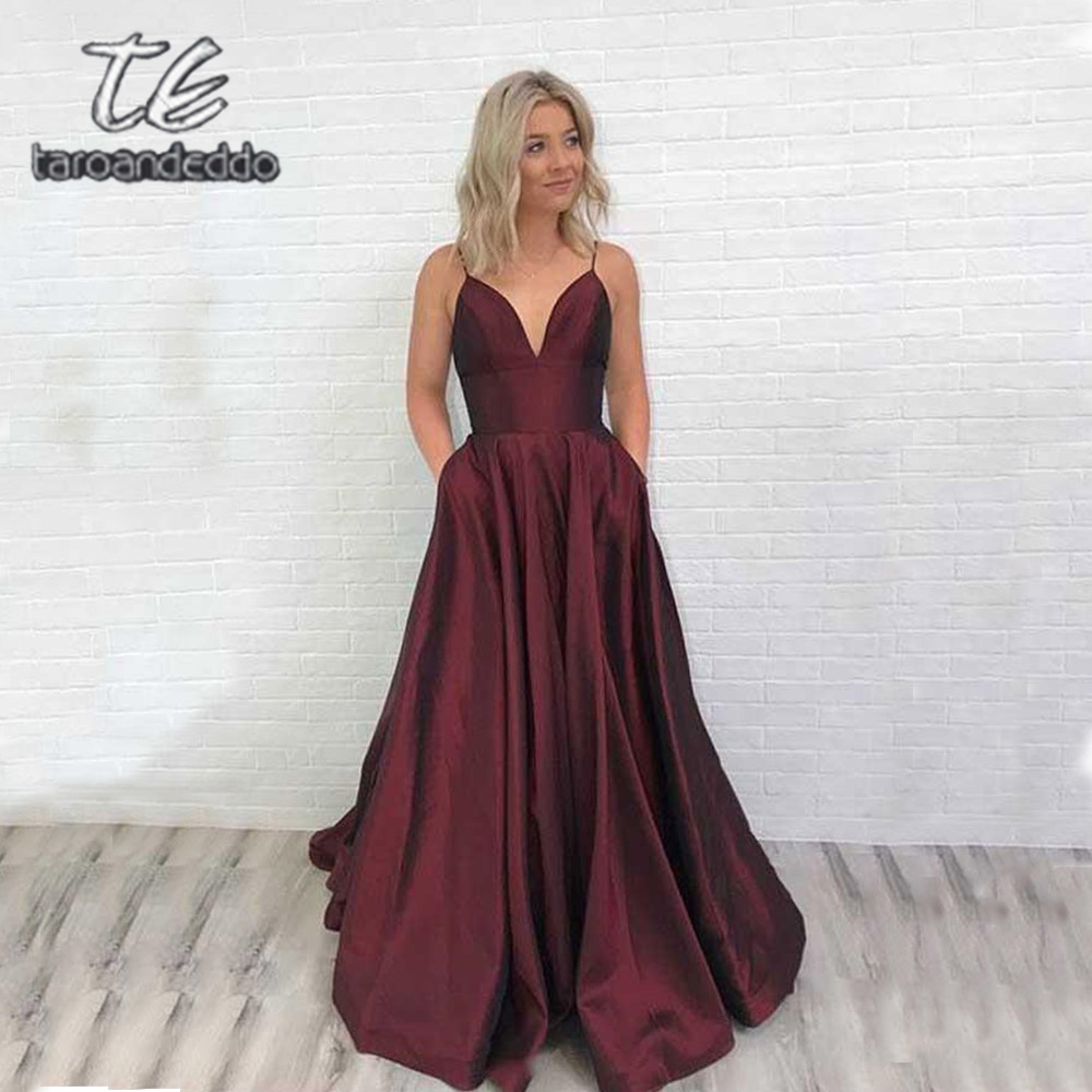 Spaghetti Straps Burgundy   Prom     Dresses   Floor Length Open Back A Line Evening Formal Party   Dress   with Pockets Vestido De Fiesta
