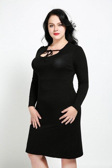 Womens Sexy O Neck Plus Size Sheath Dress Long Sleeve Black Casual