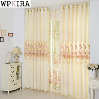 Light Yellow Luxury High Quality Embroidered Curtains Shade Light Living Room Tulle Curtains Window Screening Sheer