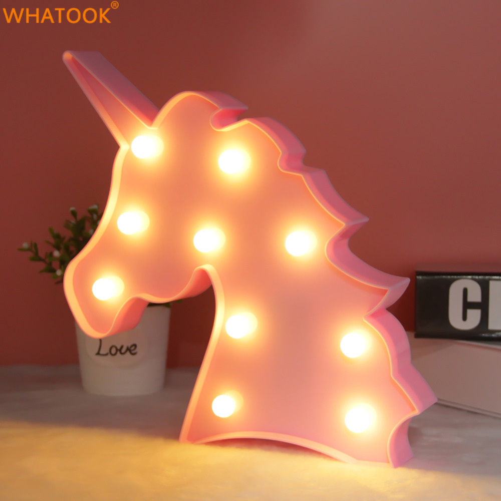 Luminaria Unicornion Night Lights LED 3D Lamp Swan Party Lamp Marquee Letter Sign Christmas Light UP Lights Baby Kids Gift Decor