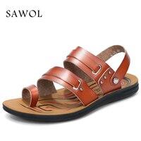 Sawol Men Sandals Genuine Split Leather Men Beach Sandals Brand Men Casual Shoes Flip Flops Men