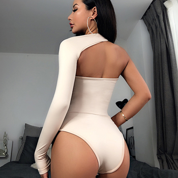 5 Color One Shoulder Sexy Bodysuits Women Sale Halter Scoop Back Skinny Tight Playsuits One Sleeve Top Club Blouse Beachwear 1