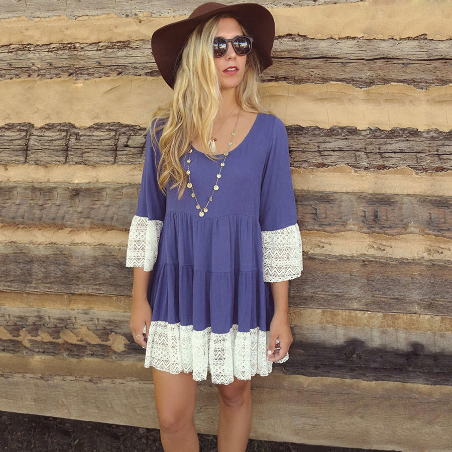 womens lace dresses <font><b>2015</b></font> summer natural silk dresses women lace dress <font><b>sexy</b></font> fashion women long sleeve plus size dresses image
